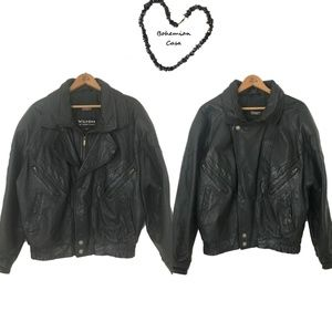 WILSONS Black Leather Motorcycle Jacket Size S